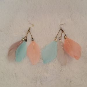 Boho style feather earrings